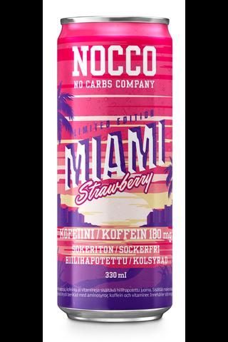 330ml NOCCO BCAA Miami Strawberry, Kolsyrad dryck med smak av jordgubbe berikad med aminosyror, koffein och vitaminer