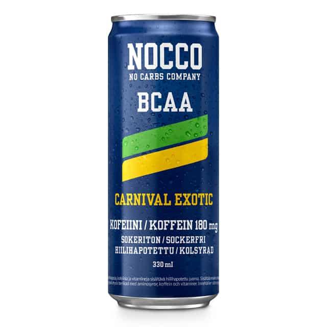 330ml NOCCO BCAA Carnival, exotiska frukter smaksatt kolsyrad energidryck, berikad med aminosyror, koffein och vitaminer